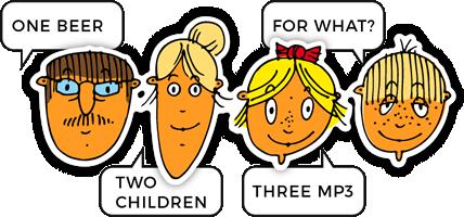 štyria ľudia hovoriaci po anglicky